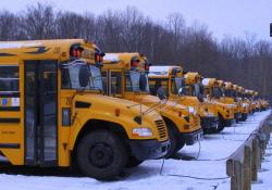 Some of Twinsburg's school buses couldn't start today (pic by ideastream's Brian Bull)