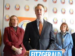 FitzGerald appeared with Montgomery County Democrats, including new mayor Nan Whaley. (Lewis Wallace / WYSO)