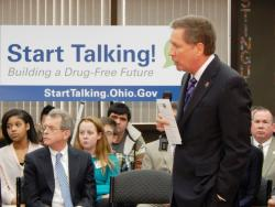 Gov. Kasich spoke in West Carrollton, south of Dayton, with Attorney General Mike DeWine. (Lewis Wallace / WYSO)