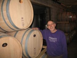 Nick Ferrante with barrels at Ferrante Winery in Geneva, Ohio (pic by Brian Bull)