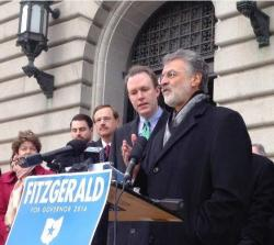 Cuyahoga County Executive Ed FitzGerald and Cleveland Mayor Frank Jackson at a campaign event. (ideastream file photo)