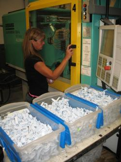 A worker at a plastics factory in northeast Ohio (WCPN stock photo)