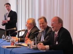 Shale summit panelists, with Marietta College professor Robert Chase at right (pic by Brian Bull)