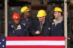 Steel workers at ArcelorMittal in Cleveland (photo by Brian Bull)