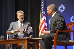 Cleveland Mayor Frank Jackson talks with WKYC's Russ Mitchell. (Nick Castele / ideastream)