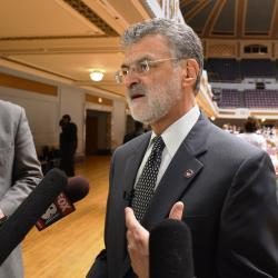 Mayor Frank Jackson answers questions from reporters after his State of the City talk. (Nick Castele / ideastream)