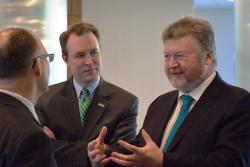Cuyahoga Executive Ed FitzGerald tours the medical mart with Irish Health Minister James Reilly, right. (Nick Castele)