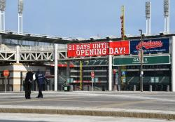 The Indians' Progressive Field three weeks before opening day. (Nick Castele / ideastream)