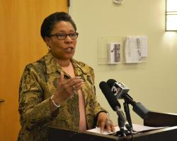U.S. Rep. Marcia Fudge pushes for a raise to the federal minimum wage at Trinity Cathedral. (Nick Castele / ideastream)