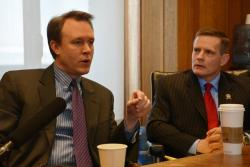 Cuyahoga County Executive Ed FitzGerald, left, talks as Cleveland Council President Kevin Kelley looks on.(Nick Castele)