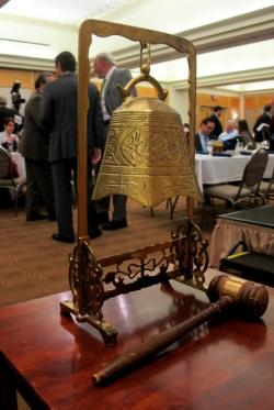 City Club of Cleveland's formal bell that signals start and end of each debate (pic by Brian Bull)