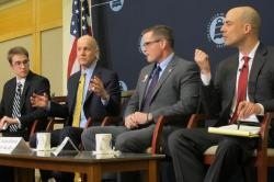 Moderator Nick Castele and panelists at today's City Club event (pic: Brian Bull)