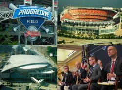 Cleveland's three major sports venues for the Browns, Cavs, and Indians, and today's panel (pic by Brian Bull)
