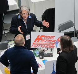 A rep for Hudson Fasteners makes her case at today's expo (pic by Brian Bull)