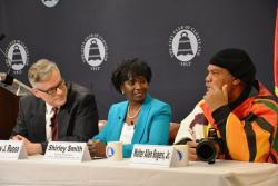 Left to right, Tim Russo, State Sen. Shirley Smith, Walter Allen Rogers Jr. (Nick Castele / ideastream)
