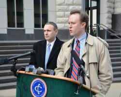 Cuyahoga County Executive Ed FitzGerald, left, and law director Majeed Makhlouf outside the federal courthouse.