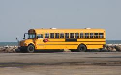 Among the items being exported to Europe, is this school bus bound for Germany (pic: Brian Bull)