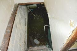 Water filled the basement of an abandoned house in Cleveland's Cudell neighborhood. (Nick Castele / ideastream)