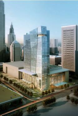 The hotel will go up next to the new Global Center for Health Innovation. (Source: Cooper Carry)