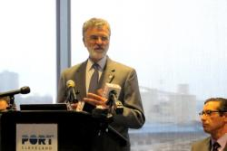 Mayor Frank Jackson at a recent press event heralding the Cleveland-Europe Express (pic: Brian Bull)