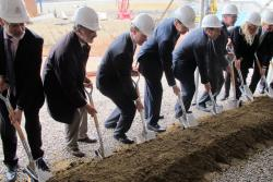 Officials - including Cleveland Mayor Frank Jackson and Cuyahoga Co Exec Ed FitzGerald -- break ground (pic: Brian Bull)