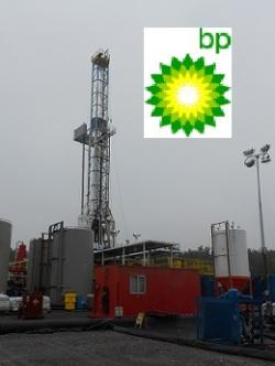BP logo and shale rig (BP and WCPN stock photo)