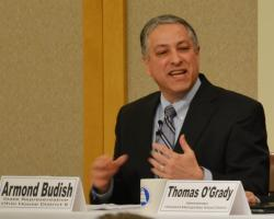 Armond Budish speaks at a debate at the City Club of Cleveland. (Nick Castele / ideastream)