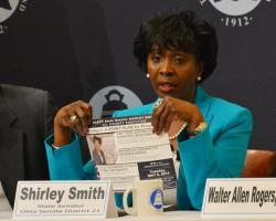 State Sen. Shirley Smith speaks at a debate at the City Club of Cleveland. (Nick Castele / ideastream)
