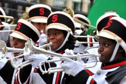 The Shaw High School marching band entertained with a mixture of Motown and the Beatles