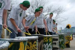 Drummers from St. Edward's High School set the rhythm of the night as the crowd arrived