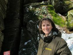 Metro Parks biologist Marlo Perdicas outside a cave at Liberty Park (pic: Brian Bull)
