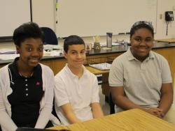 (left to right) Eighth graders Arriana Hall, Rafael Pachero and Havelyn Murray (Photo by Bill Rice / ideastream)