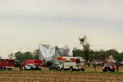 Emergency crews survey damage in Cedarville after a reported tornado. (Photo: Barb Sloan)