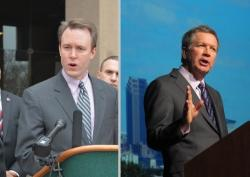 Cuyahoga County Executive Ed FitzGerald, left, is trailing Gov. John Kasich in the latest Quinnipiac poll.