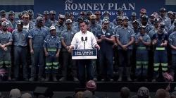 Screen grab from Mitt Romney's 2012 ad claiming President Obama was waging a 'war on coal' with Ohio miners.