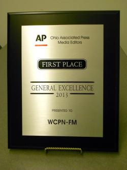 Ohio Associated Press Plaque for WCPN's Overall Excellence Honor.