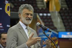 Cleveland Mayor Frank Jackson talks with reporters about the 2016 bid at a press conference at the Q. (Nick Castele)