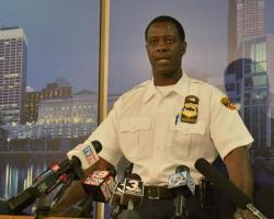 Cleveland Police Chief Calvin Williams talks with reporters about weekend violence in the city.(Nick Castele/ideastream)