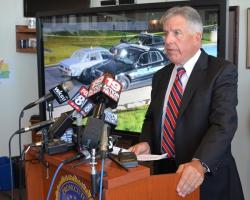 Cuyahoga County Prosecutor Timothy McGinty announces the indictments in a news conference. (Nick Castele / ideastream)