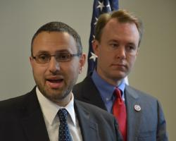 Cuyahoga County Law Director Majeed Makhlouf explains the lawsuit at a news conference. (Nick Castele / ideastream)