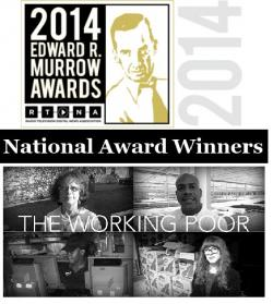 Murrow Award Logo and Working Poor Series Title banner (photos by Brian Bull, ideastream)