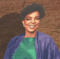 Detail from the Ruby Dee mural on the Karamu building