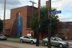 Karamu's Ruby Dee mural in perspective
