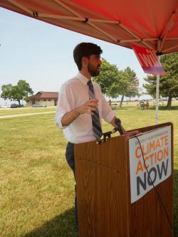 LEEDCo's Eric Ritter speaks about the status of the group's wind farm proposal at an event in Edgewater Park.