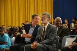 Gov. Kasich and Mayor Frank Jackson wait to speak at a signing event in Cleveland. (Nick Castele / ideastream)