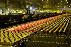 Freshly-cast steel tubes glow hot and brightly at the U.S. Steel Plant in Lorain (pic: Brian Bull)