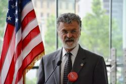 Cleveland Mayor Frank Jackson talks with reporters Wednesday after the RNC announced the city was among two finalists.
