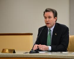 Cuyahoga County Executive Ed FitzGerald talks with county council at an unrelated 2014 meeting.