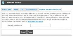 A screen grab of the attorney general's offender search site.