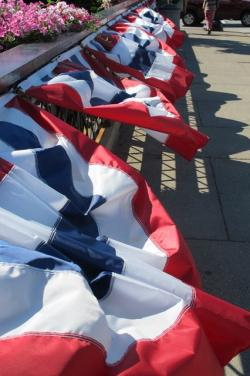 Red, white, and blue bunting adorned much of the streets and walkways in Chagrin Falls (pic: Brian Bull)